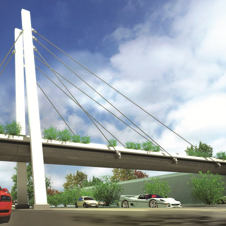 Building Material City Pedestrian Bridge Between Shopping Mall and Residential Area, UAE