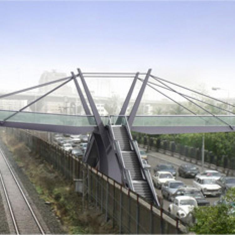 Greater Cairo Metro Project Cairo University Station Steel foot Bridge, Egypt