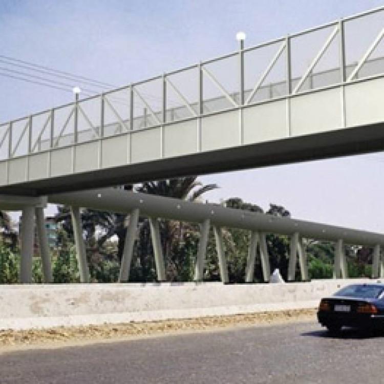 Steel Foot Bridge at El-Monib Station in Greater Cairo Metro Project, Egypt