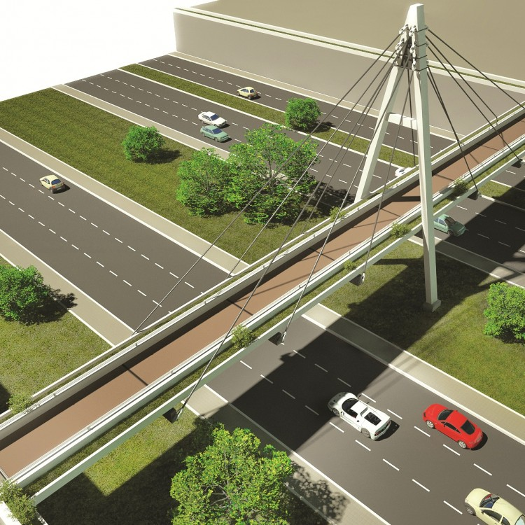 Building Material City Pedestrian Bridge Between Offices Area and Residential Area, UAE